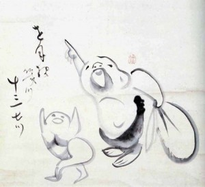 Hotei pointing to the Moon by Sengai Gibon