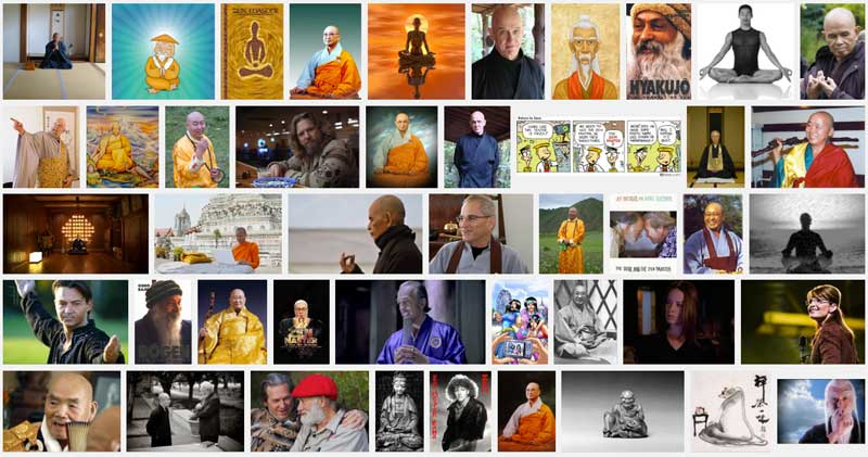 "Result of a google-search for ""zenmaster"". Amongs other notables, Sarah Palin, Chandra Mohan Rain (""Osho"") and Zen Master Rama pop up."