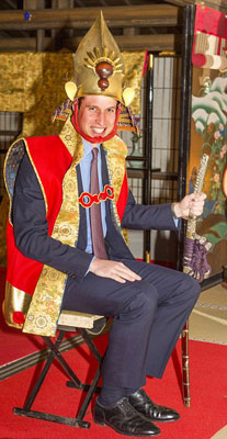 Prince William psing as Toyotomi Hideysoshi during his recent visit in Japan